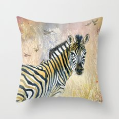 Zebra in Rainbow Savanna Throw Pillow