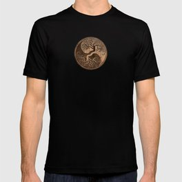 Rough Wood Grain Effect Tree of Life Yin Yang T-shirt