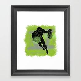 Green Lantern Splatter Background Framed Art Print