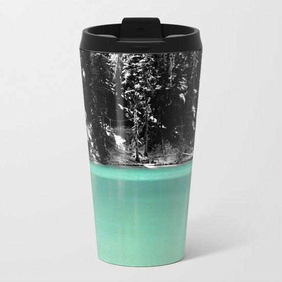 Green Water, Black and White Metal Travel Mug