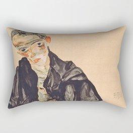 "Egon Schiele ""Selbstbildnis als Halbakt in schwarzer Jacke (Self-portrait in a black jack)"" Rectangular Pillow"