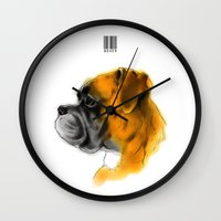 boxer Wall Clocks featuring Boxer by Det Tidkun