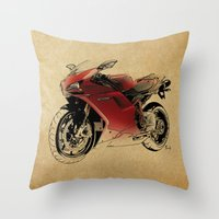 ducati Throw Pillows featuring Ducati 1098 S by Larsson Stevensem