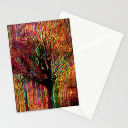 Abstract tree on a colorful background Stationery Cards
