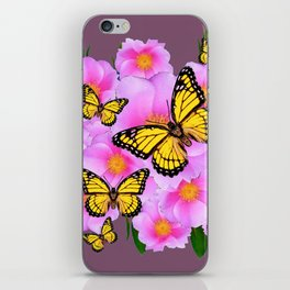 PINK ROSES YELLOW MONARCH PUCE ART iPhone Skin