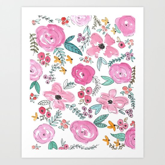 Pink Watercolor Floral Print  Art Print