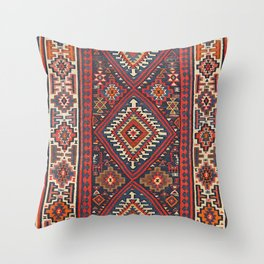 Turkey Kilim Old Century Authentic Colorful Aztec Red Blue Tan Vintage Patterns Throw Pillow