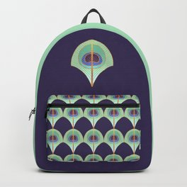 Peacock Feather Art Deco Backpack