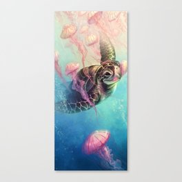 Sea Turtle and Jellyfish! Canvas Print