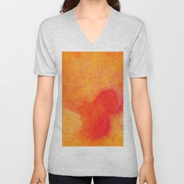 Orange watercolor paint vector background Unisex V-Neck