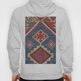 Vintage Woven Kilim // 19th Century Colorful Royal Blue Yellow Authentic Classic Ornate Accent Patte Hoody
