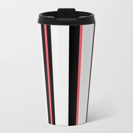 White black and pink lines Travel Mug