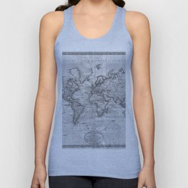 Black and White World Map (1801) Unisex Tank Top