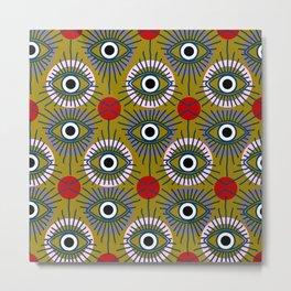 All Seeing Eye Pattern in Olive Metal Print