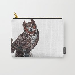 Great Horned Owl with Headphones Carry-All Pouch