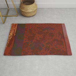 Caravans II:  Asian Print  Plum, gold, orange green origami textile floral design Rug