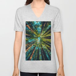 Looking Up At Trees In A Dense Forest Unisex V-Neck