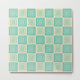 Mid Century Modern Geometric Checker 821 Seafoam and Yellow Metal Print
