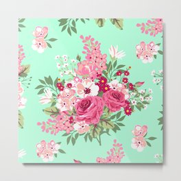 Cottage Chic Roses and Lilacs Floral in Aqua and Pink Metal Print