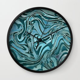 Liquid Glamour Luxury Turquoise Teal Watercolor Art Wall Clock