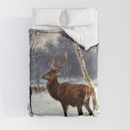 Rosa Bonheur - Deer And Doe In A Snowy Landscape - Digital Remastered Edition Comforters
