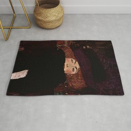 "Gustav Klimt ""Lady with Hat and Feather Boa"" Rug"