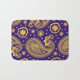 paisley: indigo & gold Bath Mat