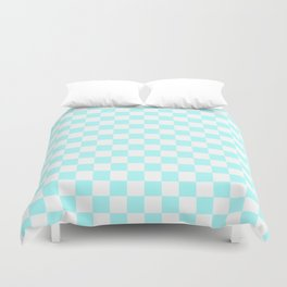 Small Checkered - White and Celeste Cyan Duvet Cover