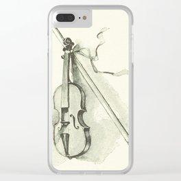 Violin, Vintage Old Book Illustration Clear iPhone Case