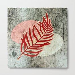 Red Tropical Leaf Metal Print
