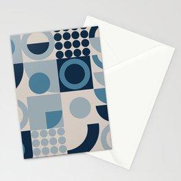 Bauhaus Geometrical Marine Blue Pattern  Stationery Cards