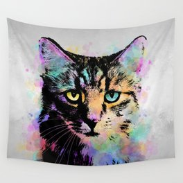 Cat 618 gray background Wall Tapestry