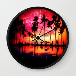 Palm Trees Sunset Wall Clock