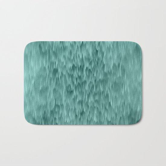 mint abstract rain Bath Mat