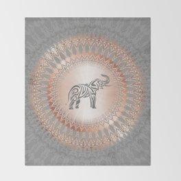 Rose Gold Gray Elephant Mandala Throw Blanket