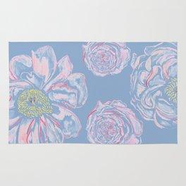 Abstract Flowers Blue #society6 #buyart Rug