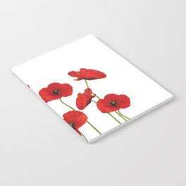 Poppies Field white background Notebook