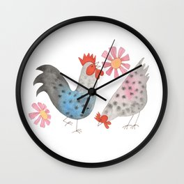 Rooster and His Chick Wall Clock