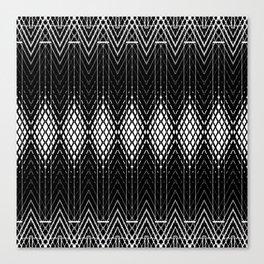 Geometric Black and White Diamond Scales Pattern Canvas Print