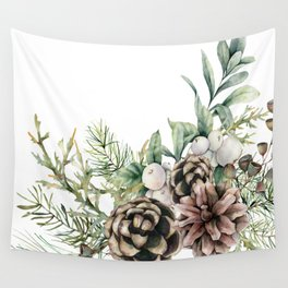 Christmas Pine Bouquet, Watercolor Floral Prints Wall Tapestry
