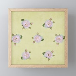 Vintage Pale Pink Roses on Yellow Framed Mini Art Print
