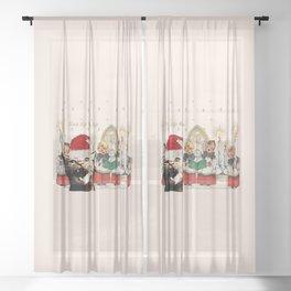 Cat singing Christmas carol Silent Night Sheer Curtain