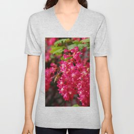 Bee and Blood Currant Ribes Sanguineum std Unisex V-Neck
