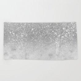 White Marble Silver Ombre Glitter Glam #1 #shiny #gem #decor #art #society6 Beach Towel