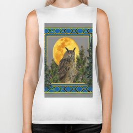 WILDERNESS OWL WITH FULL MOON PINE TREES Biker Tank