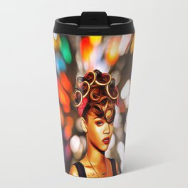 Rihanna - Celebrity with Flash Motion Art Travel Mug