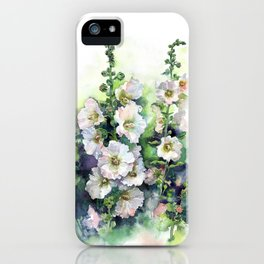 Watercolor Hollyhocks white flowers iPhone Case