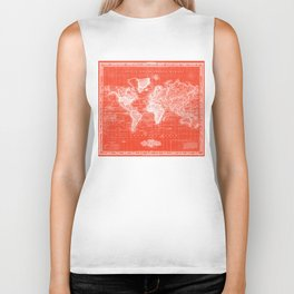 Vintage Map of The World (1833) Red & White Biker Tank