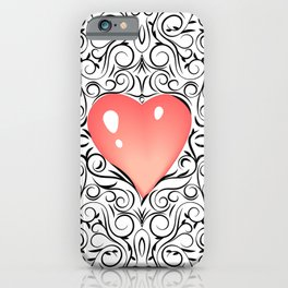 Doodle sketch ornament Valentines Day with soft pink blurred hearts. iPhone Case