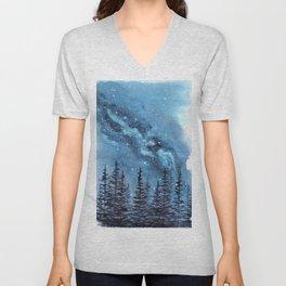 """Adventure Awaits"" watercolor galaxy landscape illustration Unisex V-Neck"